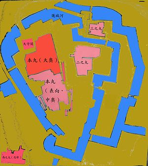 Ōoku - Map of the Honmaru enceinte of Edo Castle with the Ōoku area in red