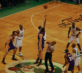 2007–08 Boston Celtics season - Image: Opening Tipoff Game 2 2008NBAFinals