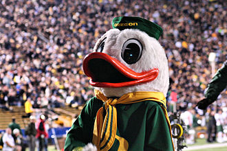 The Oregon Duck - The Oregon Duck during a California–Oregon game on November 13, 2011 at Autzen Stadium.