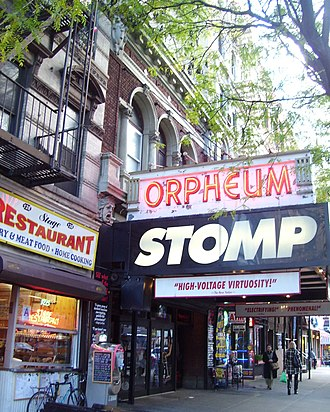 Orpheum Theatre (Manhattan) - The Orpheum Theatre, home of the New York production of Stomp, which opened in 1994
