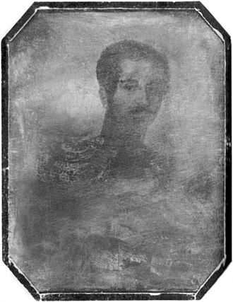 Oscar I of Sweden - Daguerreotype of Oscar I in 1844; this is the first known photograph of a Swedish monarch.