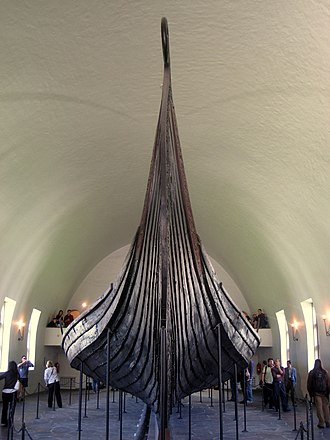 Oseberg Ship - View from the front.