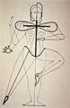 Oskar Schlemmer Sketch of figural movement for dance 1921.jpg