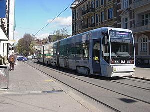 A tram operated by Oslo Sporvognsdrift, a subs...