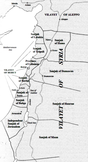 Ma'an - Map of Ottoman Syria, showing Sanjak of Ma'an