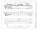 Outboard Profile (Starboard), Inboard Profile (Cut Midship, looking outboard toward port), T2 Navy Tanker Lines - Mission Santa Ynez, Suisun Bay Reserve Fleet, Benicia, HAER CA-337 (sheet 2 of 8).png