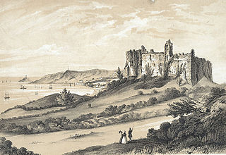 Oystermouth castle, with its village and lighthouse, Swansea bay