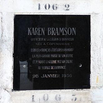 Karen Bramson - Karen Bramson's grave at the Père Lachaise Cemetery in Paris