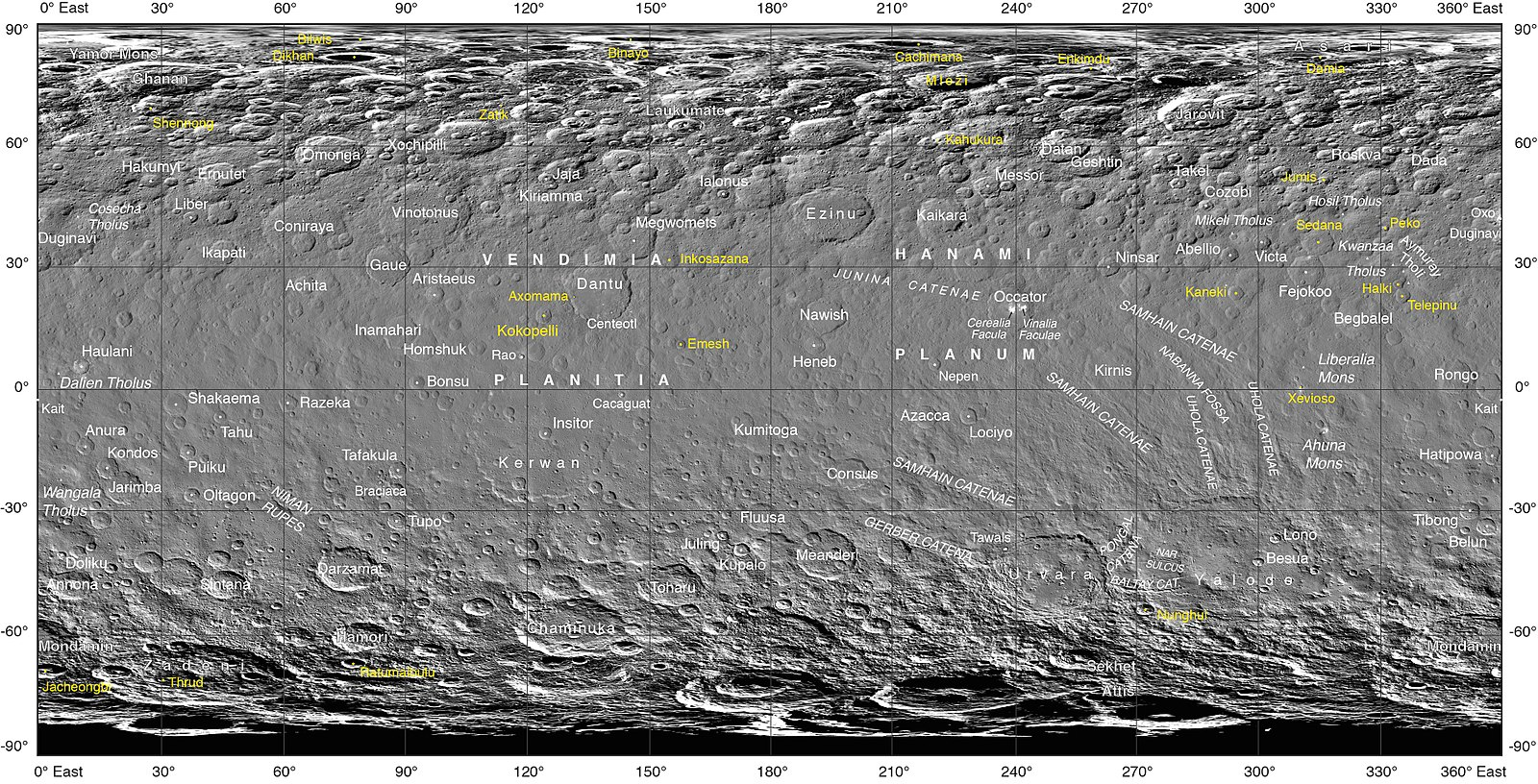 Ceres Dwarf Planet Wikiwand 451plutosolarsystemdiagramjpg Black And White Photographic Map Of Centered On 180 Longitude With Official Nomenclature September 2017