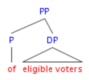 Head-directionality parameter - English PP structure