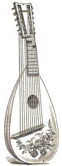 Line drawing of a lute with 5 free strings and 6 strings over a fretted fingerboard. there is a decoration of roses on the face.
