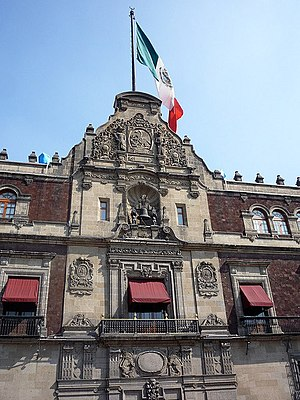 National Palace (Mexico) - Balcony where the president of Mexico gives the annual Grito de Dolores on Independence Day and the bell from the church in Dolores Hidalgo, Guanajuato