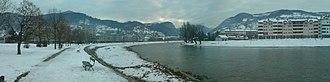 Prijepolje - Panorama of Prijepolje and the Lim river in the winter.