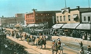 History of Edmonton - 1920 parade celebrating the anniversary of the Hudson's Bay Company: Jasper Avenue,104 Street.
