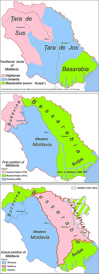 Bessarabia - Map of Bessarabia within Moldavia through time