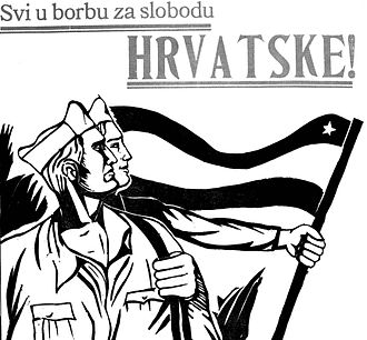 """Socialist Republic of Croatia - """"For the freedom of Croatia"""", Partisan poster from World War II."""