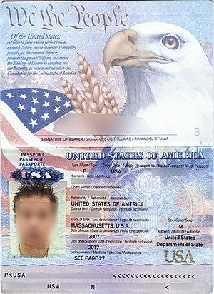 Passport validity - Image: Pasaporte eua