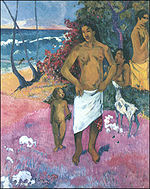Paul Gauguin - A Walk by the Sea or Tahitian Family 1902.jpg