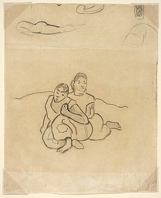 When Will You Marry? - Image: Paul Gauguin Fragments of bodies, a decorative design and two crouching Tahitian women in a landscape related to Nafea Faaipoipo (When Will You Marry) NGA 2002.233V