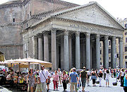 The Pantheon in Rome, Italy. The pediment of this 2000-year-old building is the triangular piece above the columns