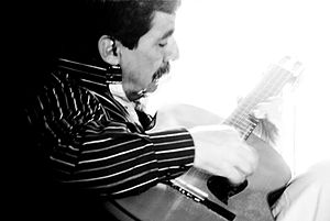 Colombian tiple - Artist Pedro Nel Martinez playing a Colombian tiple