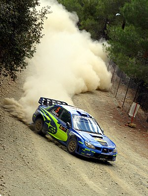 Petter Solberg driving a Subaru at the 2006 Cy...