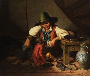 Tyrolean hat - Image: Petzenburg Knabe mit Tirolerhut und Äffchen