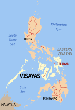 Map of the Philippines with Biliran highlighted