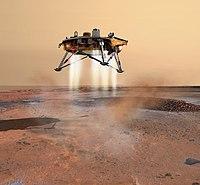 Concepción artística de la sonda Phoenix aterrizando en Marte.
