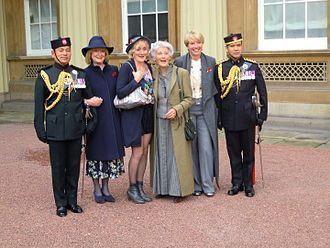 Phyllida Law - Phyllida Law (centre) flanked by her daughters Sophie Thompson and Emma Thompson on receiving her OBE at Buckingham Palace.