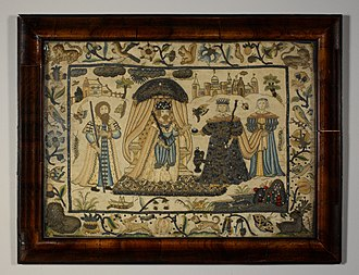 Stumpwork - Stumpwork picture worked in silk and metal thread on silk, with pearls and beads, 17th century.