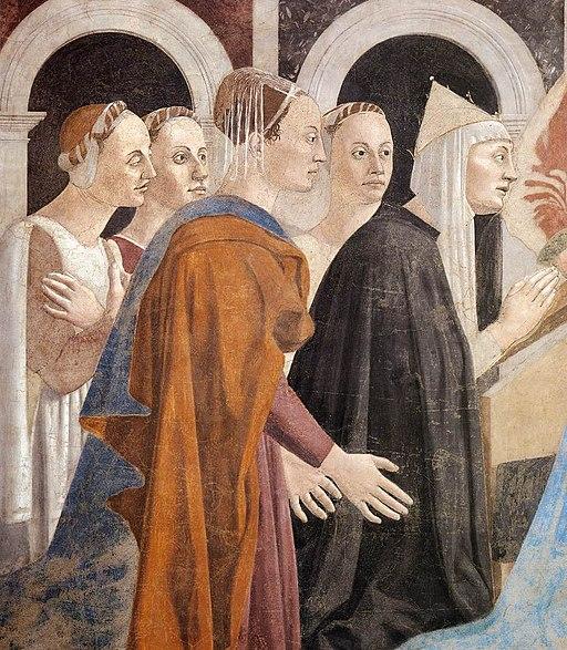 Piero della Francesca, Le Storie della Vera Croce, Verifica e Adorazione della Croce (particolare Elena e il suo seguito), Basilica di San Francesco, Arezzo