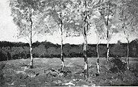 Piet Mondriaan - Six young birch trees in a field - A288 - Piet Mondrian, catalogue raisonné.jpg