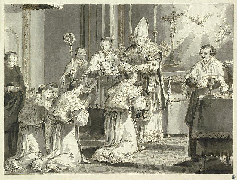 LES HEURES DE LA JOURNÉE CHRÉTIENNE, Où sont enseignées LES VOIES DU SALUT - France - année 1690 788px-Pietro_Antonio_Novelli_Sakramente_Priesterweihe