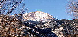 Pikes Peak as seen from within Manitou Springs, Colorado.