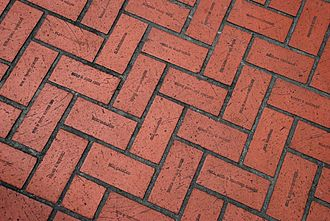 Pioneer Courthouse Square - The square's surface is made up of bricks inscribed with the names of citizens whose $15 donations in 1981–1982 helped fund its construction.
