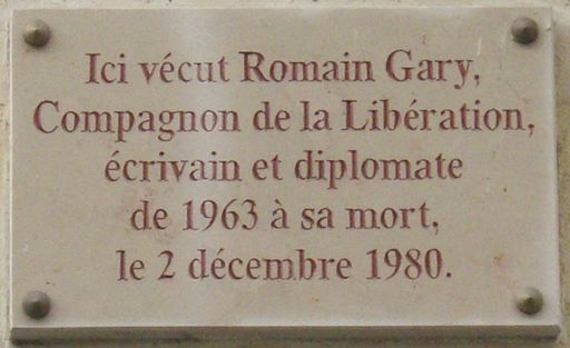 Plaque Romain Gary, 108 rue du Bac, Paris 7