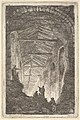 Plate 10- The Ancient Gallery- a large covered gallery, light entering from the background, six figures standing atop piles of rocks in the foreground, from 'Les soirées de Rome' MET DP829176.jpg