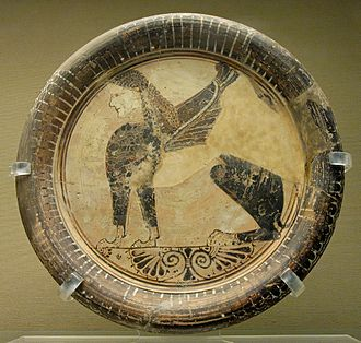 Naucratis - Seated sphinx plate, Eastern Greek Orientalizing, 6th century BC, from Naukratis
