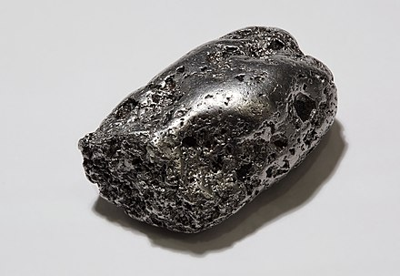 A native platinum nugget, Kondyor mine, Khabarovsk Krai Platinum-nugget.jpg