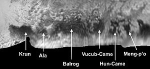"Geography of Pluto - The ""Brass Knuckles"" region of Pluto. Meng-p'o is at the zero meridian; to the east is the 'tail' of Cthulhu."
