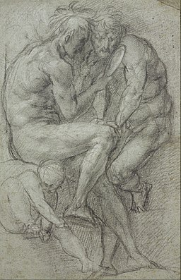 Pontormo (Jacopo Carucci) - Studies of nudes (two men, seated, looking in a mirror, and a seated boy) - Google Art Project