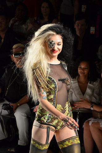 Porcelain Black - Porcelain Black, on the runway, at the 2012 Spring Falguni fashion show.