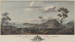 St. George's, Grenada - The island of Grenada and port Saint-Georges in 1776.