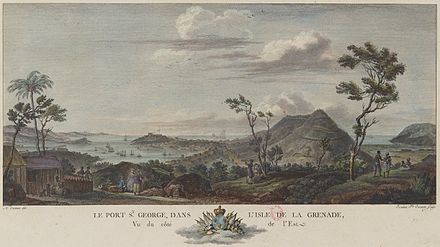 The island of Grenada and port Saint-Georges in 1776. Port Saint-Georges dans l'ile de la Grenade en 1776.jpg
