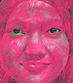 Portrait of a Malaysian student charcoal on film, with Acrylic paint DETAIL 2013.jpg