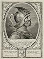 Portret van Floris I, graaf van Holland, in een harnas. Hij draagt een helm. De omlijsting is versierd met het wapen van Holland. NL-HlmNHA 1477 53012899.JPG