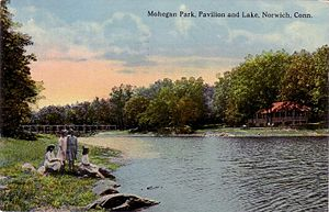 Norwich, Connecticut - Pavilion and lake, 1912