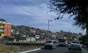 Ribeira da Trindade - Ribeira da Trindade from the neighborhood of Fazenda in Praia with the view of Lem Cachorro, on the left is Vila Nova