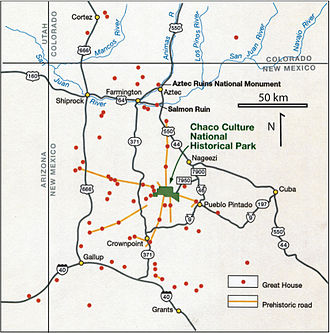 Chaco Culture National Historical Park - Prehistoric roads and great houses in the San Juan Basin, superimposed on a map showing modern roads and settlements